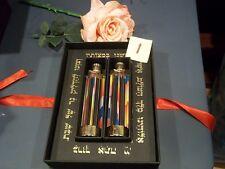 2 PC JERUSALEM CRYSTALIGHT CANDELABRA CANDLEHOLDERS LUCITE BRONZE LITHO SABBATH
