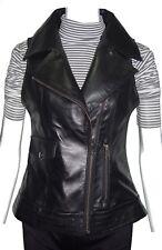 Plus Size 3X Women Cool Fitted Slim Sheepskin Black New Leather Biker Vest 4158