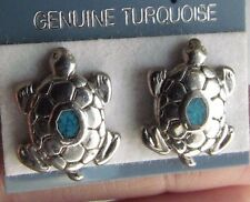 Handcrafted Genuine Turquoise Mosaic Inlay Turtle Post Earrings USA