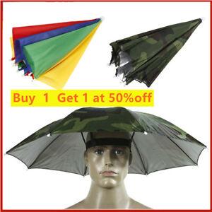 Outdoor Foldable Head Umbrella Hat Golf Fishing Camping Headwear Elasticity Cap!