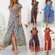 Women's floral cocktail maxi summer sundress party beach evening boho long dress