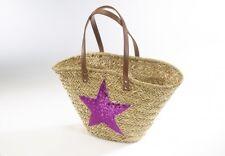 Seegrastasche mit Stern aus Pailetten in pink  Einkaufstasche Korb Tasche Einkau