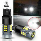 2x 7440 7443 Strobe Flashing Brake Stop Back Up Reverse Signal Light Bulbs White