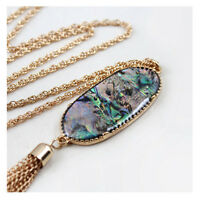 Women's  2'' Oval Abalone Shell Druzy Tassel Pendent Necklace Design Stone Long