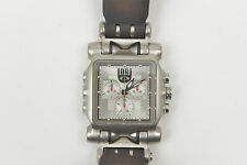 Oakley Minute Machine Silver Sapphire Crystal Face Men Time Watch BROWN LEATHER