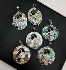 Mosaic Multi-Color Shell Disc Pendant with White Mother of Pearl Flowers
