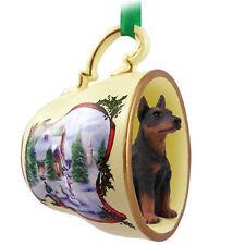 Doberman Pinscher Christmas Teacup Ornament Red
