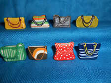 PURSES Pouches HANDBAGS Clutch TOTE Set 8 Mini Figurines FRENCH Porcelain FEVES