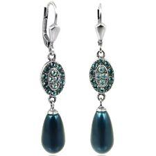 Jugendstil Perlen-Ohrringe Kristalle von Swarovski® Silber Blau Petrol NOBEL