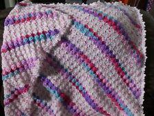New! Handmade Crochet Blanket Lap Throw Afghan - white, pink, purple