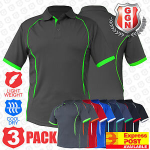3x Mens Polo Shirts ACTIVE SPORTS WORK CLUB GYM TEAM TRADIES OFFICE UNIFORM