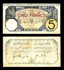 Afrique Occidentale 5 Francs Dakar Sénégal 14 Décembre 1922