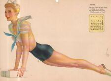 1944 Vargas Original Calendar Page April - Navy Waves