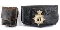Victorian military Leather Pouches 47th Regiment One With Tin Liner