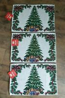 """3 ~ New Christmas House Tapestry Placemats Tree 13"""" X 19"""" Made in India"""