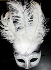 SILVER & WHITE FEATHER MASK VENETIAN MASQUERADE BALL CARNIVAL PARTY EYE MASK