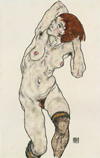 Egon Schiele Reproductions:  Standing Nude with Black Stockings - Fine Art Print