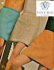 Vintage Visage knitting pattern-how to make 3 1960s mod mini skirts, DK