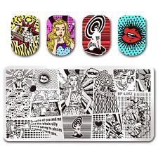 Nagel Kunst Schablone Stempelplatte Stamping Plate Mädchen Muster BPL-62