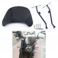 Motorcycle Front Windshield Black Deflector w/ Brackets For Benelli Leoncino 500