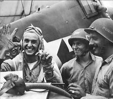 WWII Photo Navy F6F Hellcat Ace Alex Vraciu US Navy WW2 B&W World War Two / 5125