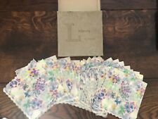 More details for vintage liberty of london napkins original box 1950s mixed flowers butterfly