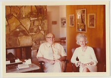 Vintage 70s PHOTO Senior Couple Relaxing In Home