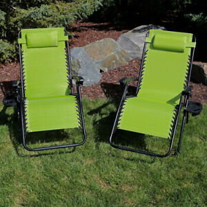 Sunnydaze Green Oversized Zero Gravity Chairs with Cup Holders - Set of 2