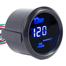 "Car Universal 2"" 52mm Black Shell Digital Blue LED Oil Press Pressure Gauge PSI"
