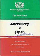 JAPAN 1983 RUGBY TOUR PROGRAMME v ABERTILLERY 8th October, Abertillery