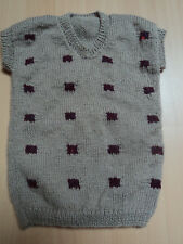 Pull enfant   sans manches - marron/prune -  tricot main - Neuf -  -
