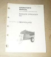 Sperry New Holland Manure Spreader 667 Operator's Manual P/N 43066710