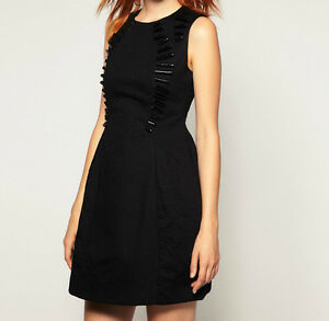BRANDED Shift Dress in Quilted Fabric with Tube Embellishment Black UK 10/EU 38