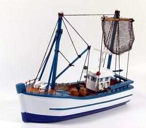 Wooden model flat bottom trawler fishing boat 18cm, nautical gift