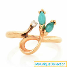 Estate Diamond Turquoise 14K Yellow Gold Bypass Floral