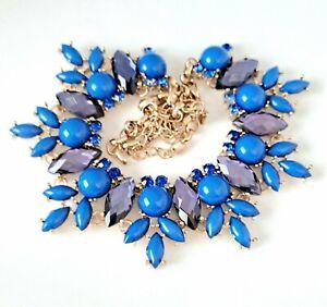 Leslie Danzis Gold Tone Chunky Rhinestone Statement Bib Necklace Blue Purple