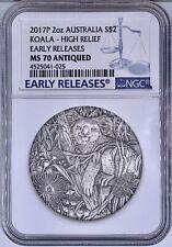 2017P Australia $2 Koala High Relief 2 Oz Silver Coin NGC MS 70 Antiqued ER 9999