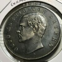 1912-D GERMANY BAVARIA SILVER 3 MARKS NICELY TONED CROWN COIN