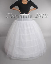 White 6 hoop 2 layer bridal wedding petticoat underskirt slip skirt crinoline