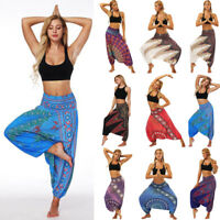 Womens Summer Loose Yoga Trousers Baggy Boho Aladdin Jumpsuit Harem Pants
