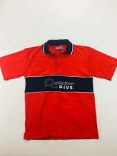 QuickSilver Vintage Dive Crew Embroidered Shirt Red White Blue