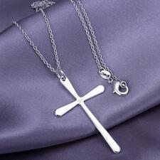 925 Sterling Silver filled Necklace Classic Cross Pendant Fashion jewelry Gift