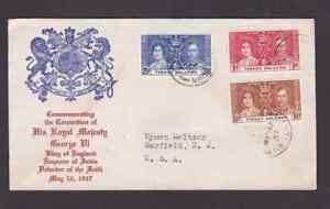 Virgin Islands 1937 FDC 1st day cover to the USA KGVI Coronation #2