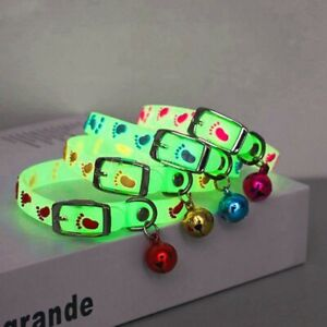 Pet Glowing Collars with Bells Glow at Night Dogs Cats luminous belt.
