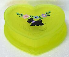 Boyd Glass Heart Trinket Box Handpainted Scottie Vaseline Satin