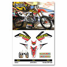 2010 - 2013 HONDA CRF 250 GEICO Dirt Bike Graphics kit Motocross Graphics Decal