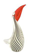 "New 10"" Large Hand Blown Art Glass Pelican Bird Figurine LG White Red Stripes"