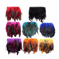 1M DIY Rooster Hackle Coque Feather Fringe Craft Trim Sewing Costume Millinery