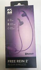 iFrogz Free Rein 2 In-Ear Wireless Bluetooth Earbuds Headphone Purple Mic/Remote
