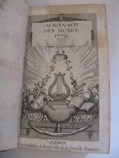ALMANACH DES MUSES 1779  Illustré POESIES AIRS NOTES D'ALEMBERT LACLOS DORAT